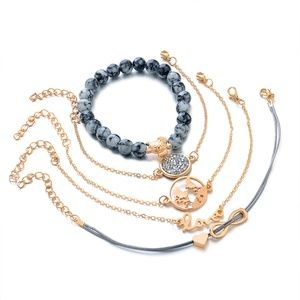 Jewelry - 5PCS BRACELET STONE BLUE GOLD WORLD LOVE INFINITY